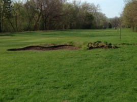 The bunker is finished with sod and donated tall grass, to be tied into the surrounding tall grass area.