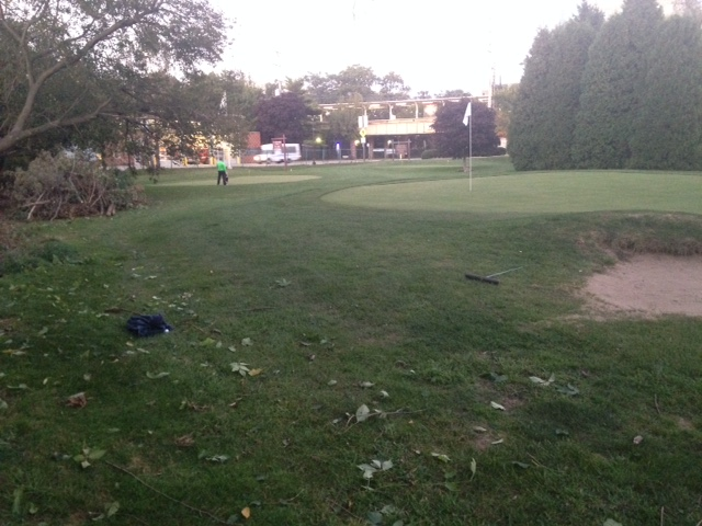 Greenside left area has been cleared and will soon be seeded to create another runoff for missed approaches.