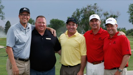 Andy with his team and Fred Couples at the Rockwind grand opening.