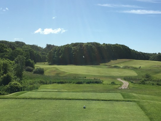 #4 - Par 4 - Tee view out to the sloping fairway
