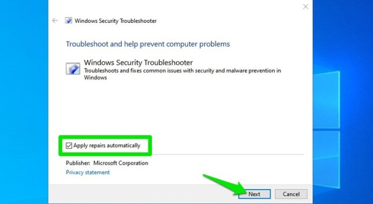 Windows security troubleshooter