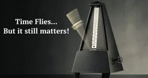 """swinging metronome with quote """"time flies... but it still matters!"""""""