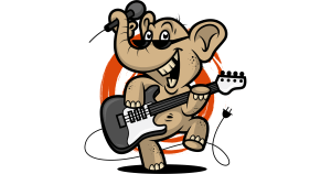 elephant with an electric guitar and a microphone