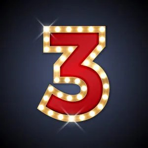 The number 3 in lights