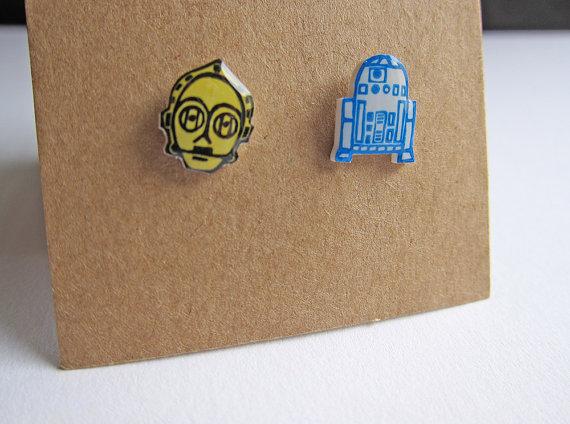 Star Wars C3PO R2D2 Shrink Plastic Stud Earrings