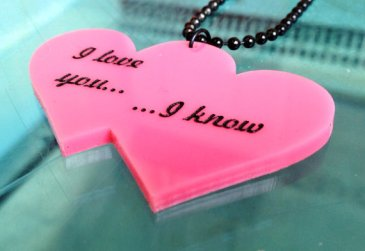 star wars I love you, I know - Pink Star Wars Necklace han solo princess leia