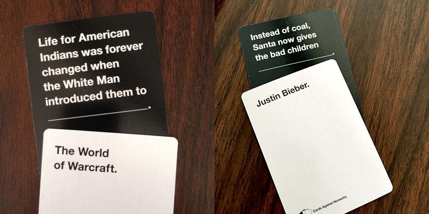 Geek Girl Brunch-Kansas City winning Cards Against Humanity combos
