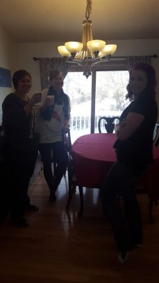 Enjoying refreshments before opening gifts