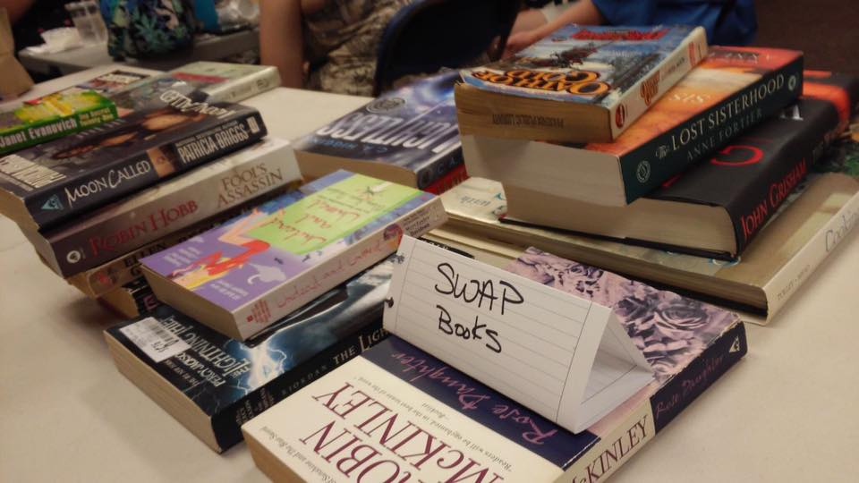 Table with swap books