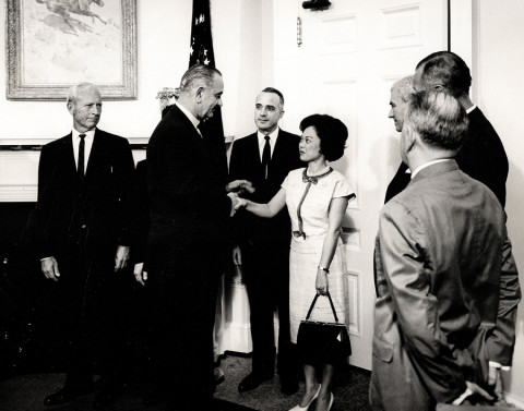 President Lyndon Johnson greets U.S. Rep. Patsy Mink. Image source: Making Waves Films