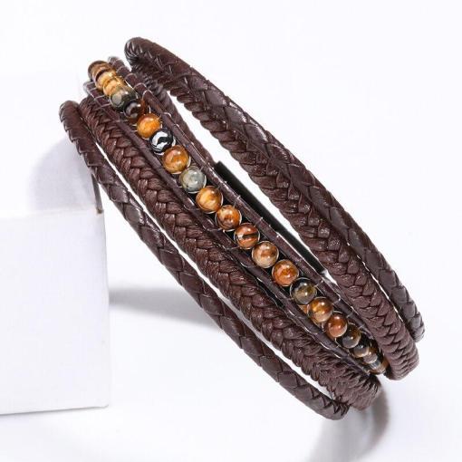 Men's leather wrap bracelet black bohemian fashion bracelet for gentlemen