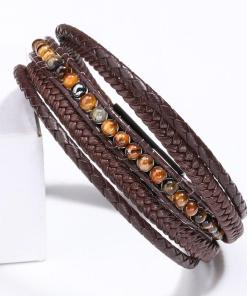 Men's leather wrap bracelet black bohemian fashion bracelet for gentlemen