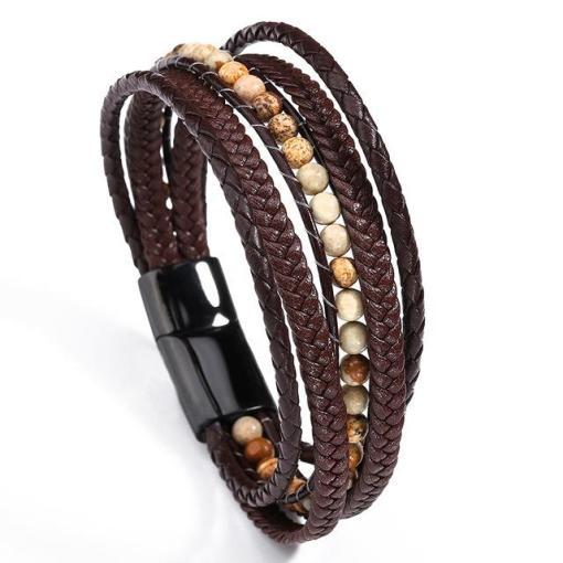 Mens brown leather wrap bracelet bohemian style fashion bracelet for boyfriend gentlemen gift for geeks