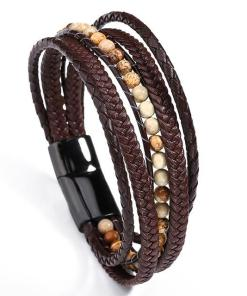 Mens brown leather wrap bracelet bohemian style fashion bracelet for boyfriend gentlemen gift for geeks
