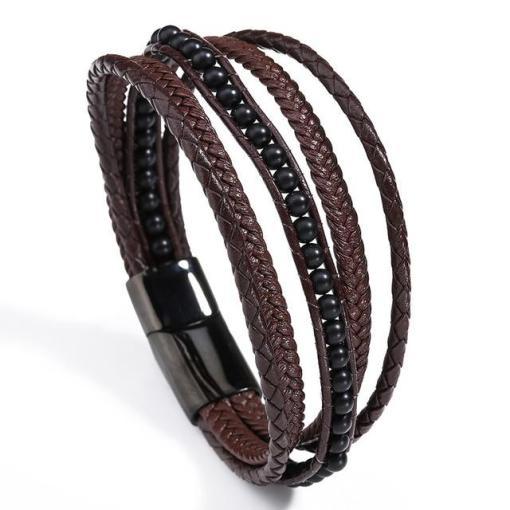 Men's brown leather bracelet bohemian style fashion bracelet for gentlemen-1