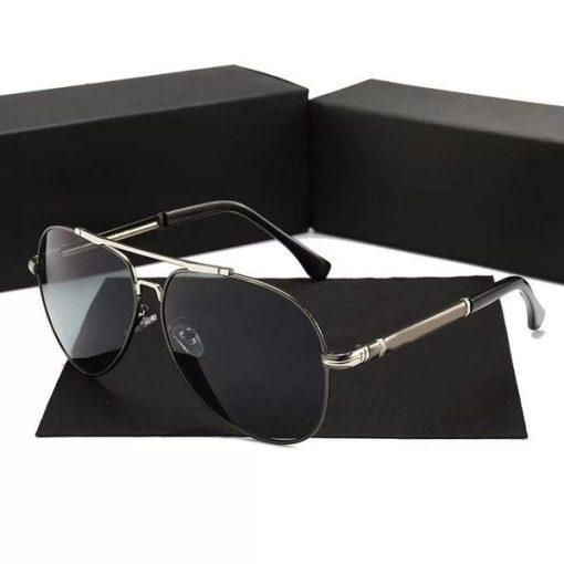 Black Round Aviator Titanium Oversized Sunglasses Womens