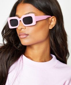 Pink Rimmed Aviator Square Sunglasses