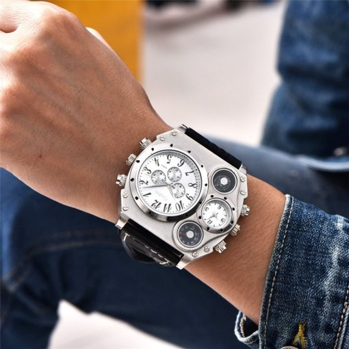 Gunmetal leather sports watch
