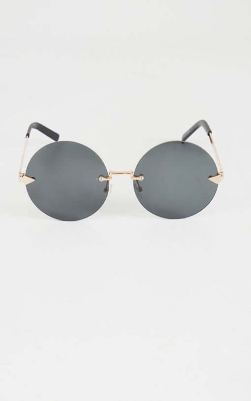 Black Gold Round Small Cat Eye Sunglasses Women's