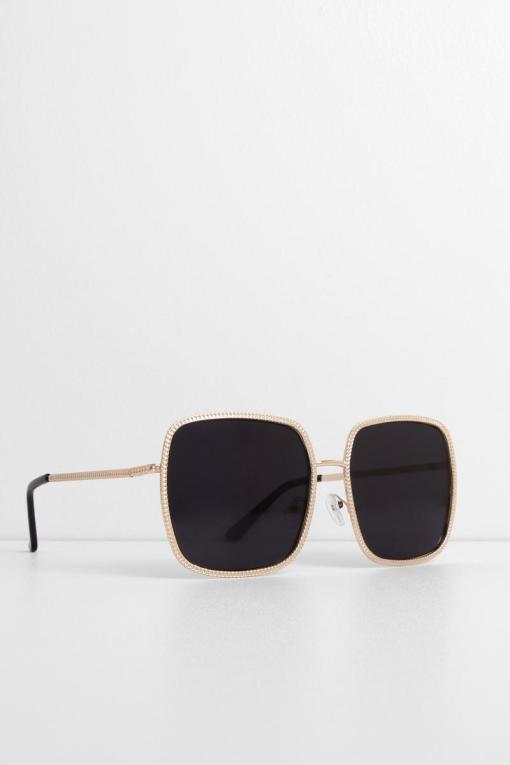 Black Gold Square Small Cat Eye Sunglasses Women's