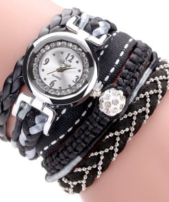 Ladies Black Leather Wrap Bracelet Watch For Women