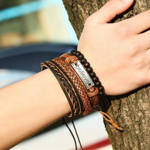 Mens Black Leather Braided Motivational Bracelets