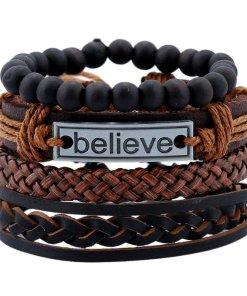 Mens Black Leather Braided Motivational Bracelets