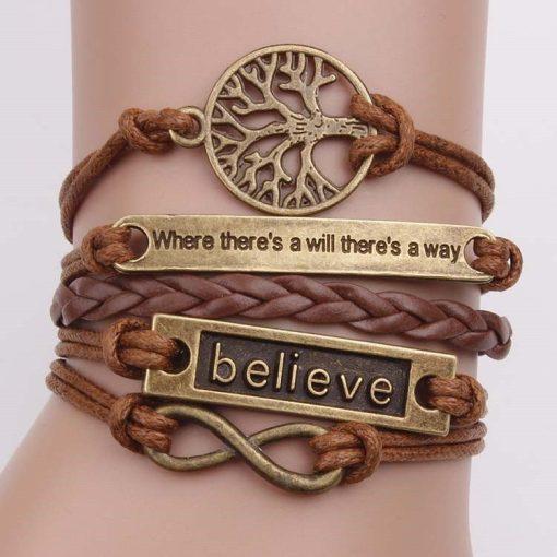 Leather Wrap Bracelet Bohemian Motivational Wristbands