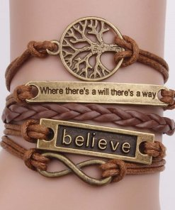 Leather Wrap Bracelet Bohemian Motivational Wristbands