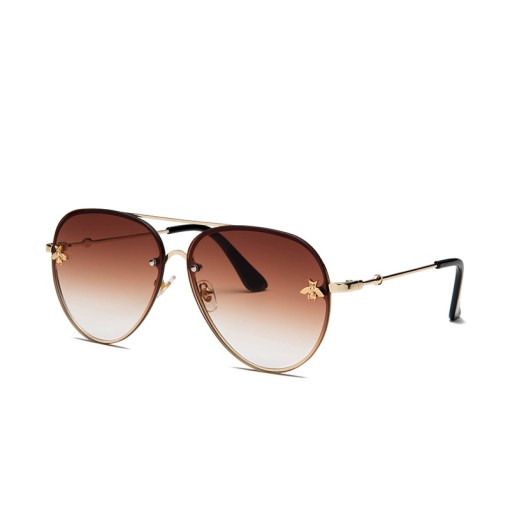 Brown Designer Large Aviators Round Sunglasses With Gold Frame Womens