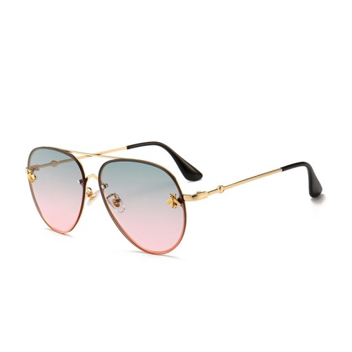 Pink Designer Large Aviators Round Sunglasses With Gold Frame Womens