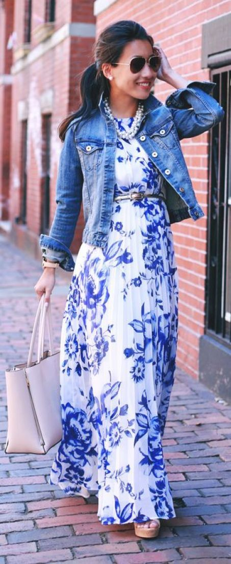 Blue And White Maxi Dress Jean Jacket