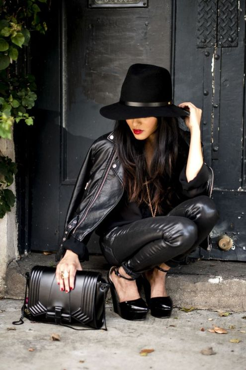 Head To Toe Black Leather