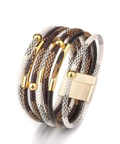 Womens Leather Boho Magnetic Wrap Bracelet