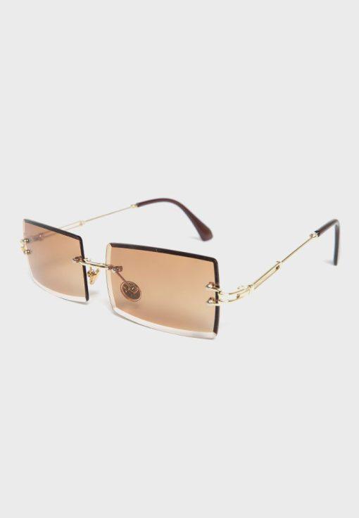 Brown Rimless Rectangular Cat Eye Sunglasses womens