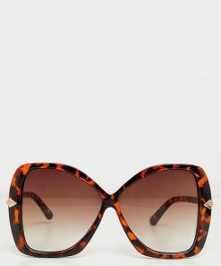 Brown Oversized Aviator Square Polarized Sunglasses Women