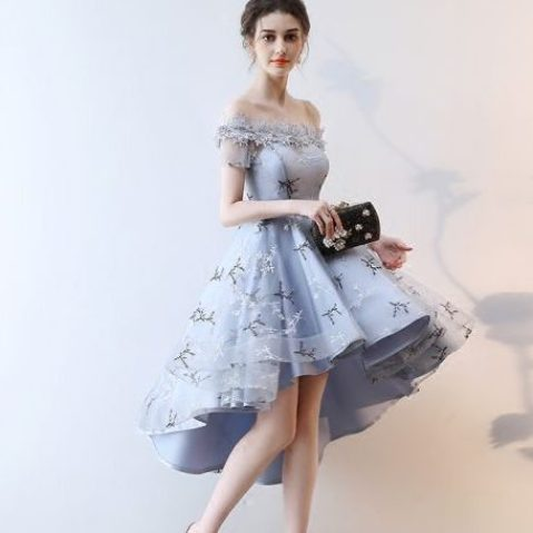 Modern Fashion Grey Cocktail Dresses 2018 A Line Princess Asymmetrical Appliques Lace Bow Off The Shoulder Backless Short Sleeve Formal Dresses 560x560