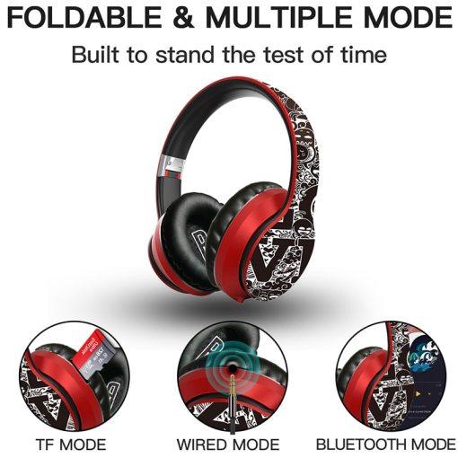 Wireless Bluetooth 5.0 Headphones Over Ear Headest Graffiti Design Foldable Headphone with Mic Hi-Fi Stereo For phone pc laptop