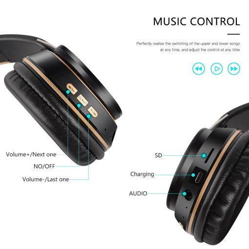 True Wireless Headphones 3D Stereo Bluetooth Headset Foldable Gaming Earphone With Mic Suppor TF Card Noise Reduction Headphones