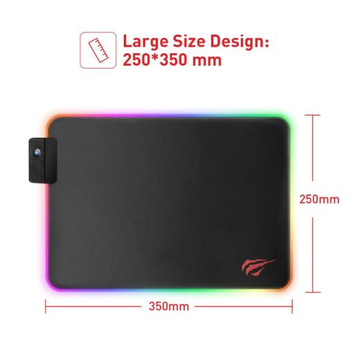 HAVIT Gaming Mouse Pad RGB USB LED 14 Groups of Lights Extended Illuminated Keyboard Non-Slip Blanket Mat 350*250 and 800*300