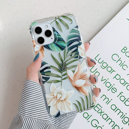 LOVECOM Vintage Banana Leaf Flower Clear Phone Case For Samsung S20 A51 A71 A50 A21S S10 Plus Note 20 10 Soft Animal Back Cover
