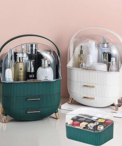 Makeup Organizer Cosmetic Storage Box Lipstick Rack Jewelry Storage Box Cosmetic Brush Portable Drawer with Cover Dust-proof