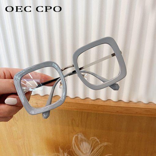 OEC CPO Overside Square Glasses Women Men Fashion Transparent Optical Glasses Frames Female Clear Eyeglasses 0631