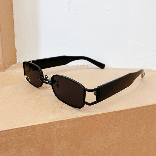 SO&EI Ins Popular Fashion Small Rectangle Women Luxury Sunglasses Brand Designer Vintage Punk Men Sun Glasses Shades UV400