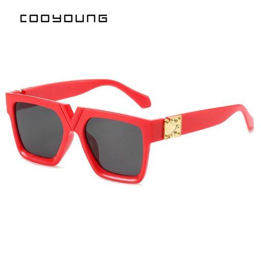 COOYOUNG Unisex Fashion Ladies Square Sunglasses Women Goggle Shades Vintage Brand Designer Oversized Sun Glasses UV400