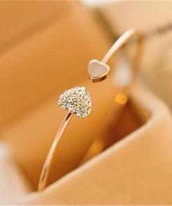 L043 New Fashion LOVE Crystal Double Heart Cuff Bracelet & Bangles for Women Lady Jewelry Charm Open Bracelet Valentine's Gift