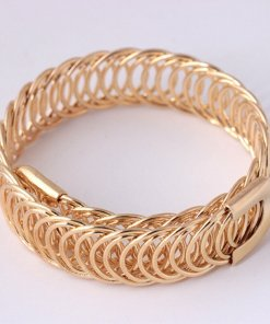 hammered gold link bracelet