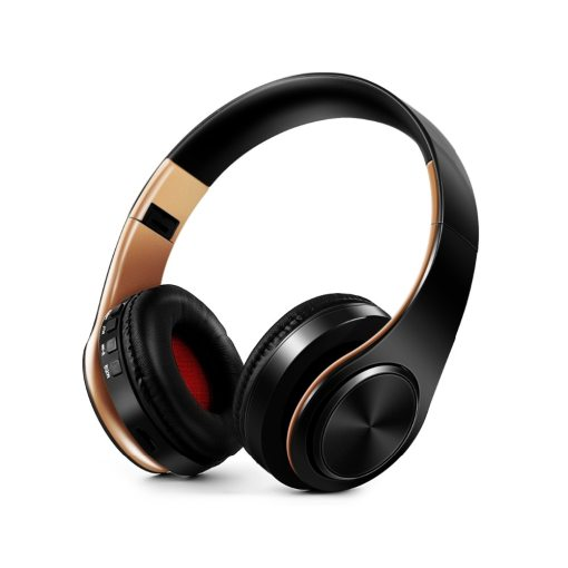 Men gift Gold Wireless headphones Bluetooth earphone Stero headset with Build-in MIC with 3.5mm jack for Xiaomi Samsung IPHONE