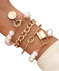 KMVEXO Punk Gothic Imitation Pearls Lock Bracelets Female Knot Flower Bracelet Bangles for Women 2020 Fashion Gold Coin Jewelry