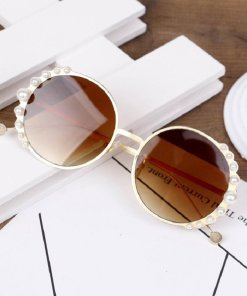 Kids Round Metal Children Pearl Sunglasses Girl Boy Cute Eyewear Fashion Sun Glasses Shade UV400